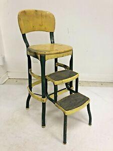 Vintage COSCO STEP STOOL metal industrial folding steel chair retro bar yellow