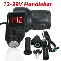 12V-99V Electric Scooter Bike Throttle Grip Handlebar LED Digital Meter + Key