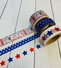 3 Rolls Patriotic Sayings Stars Washi Tape Scrapbook Planner Supply Usa Military