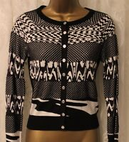 Karen Millen Black Animal Print Stripe Popper Knit Cardigan Top Jumper 10 38 New