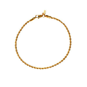 18K Gold Plated Rope Chain Anklet / Ankle Bracelet - LIFETIME WARRANTY
