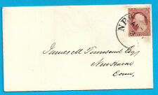 US #11a USED ON COVER NEW YORK.CANCEL DULL RED