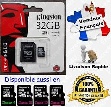 45 MB/s KINGSTON MicroSD SDHC 32 Go Carte Mémoire Class 10 aussi en 4 8 16 64 Gb