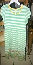 MATILDA JANE STRIPED FLORAL AQUA DRESS SIZE 10-12
