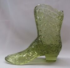 FENTON GLASS DAISY AND BUTTON HIGH TOP BOOT SLIPPER SHOE (COLONIAL GREEN)