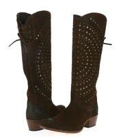 Womens Frye Dark Brown Suede Tall Studded Pull On Knee High Boots Shoes Size 7 M