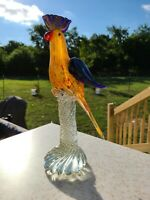"Vintage 13.5"" Murano Glass Cockatoo Bird Sculpture SCARCE NICE"