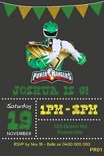 POWER RANGERS Personalised Invitations Invite Birthday Party GREEN RANGER