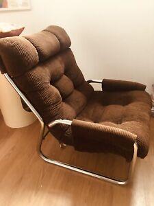 Vintage Danish dark brown cord easy chair chrome base mid century chair 1970s