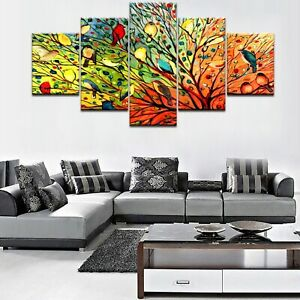Abstract Colorful Birds Poster 5 Panel Canvas Print Wall Art Home Decor