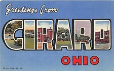 A28/ Ohio Postcard Girard Linen Greetings from Large Letter