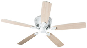 """HYPERIKON 52"""" Ceiling Fan 5 Reversible Blades 62W 110V in White with Remote"""