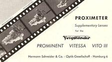 Voigtlander Cámara Proximeter Folleto -para Prominent-Vitessa-Vito III