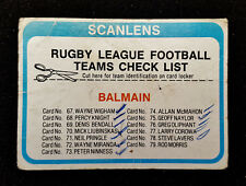 1979 SCANLENS BALMAIN TIGERS TEAM CHECKLIST NRL RUGBY LEAGUE FOOTY TRADING CARD