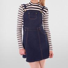 Ladies Woman Trendy Denim Jean Pinafore Dungaree Black Navy Bib Dress 6-14 Indigo 12