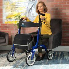 Bariatric Rollator Seniors Walker Aluminum Seat Wheels Brakes