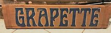 Vintage Grapette Soda Pop Advertising Hand Painted Wood Sign Very Rare