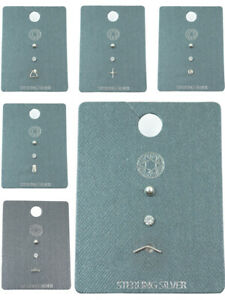Stack OF Earrings Womens Jewellery 3 Pack Sterling Silver Fashion Studs New