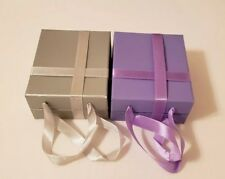 Lot of 2 Jewelry Gift Boxes with Built in Cushion and Ribbon Handles