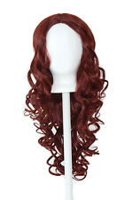 28'' Center Part Wig w/ Long Layered Curls No Bangs Rustic Red Cosplay Wig NEW