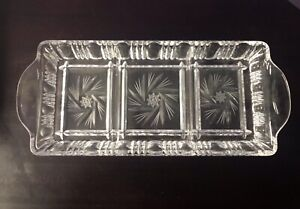 Leaded Crystal Serving Dish Clear Cut divided 3 section pinwheel design VINTAGE!