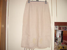 LONG ELASTICATED BEIGE SKIRT REAR SPLIT AND GOLD  BRONZE EMBROIDERED FLOWERS 16