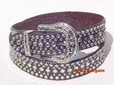 Western Rhinestone Crystal Snap On Buckle Chocolate Brown Leather Belt L ML