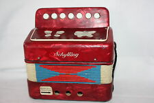 "VINTAGE SCHYLLING LITTLE RED CHILDS ACCORDIAN WORKS 7"" X 7"" X 3.5"""