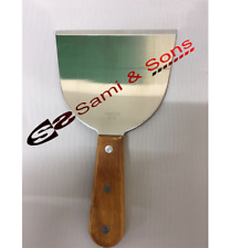 Stainless Steel Griddle Scraper Wooden Handle Commercial Grade
