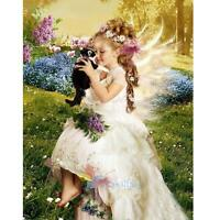 DIY 5D Diamond Painting Angel Girls With Cat Embroidery Cross Stitch Home Decor
