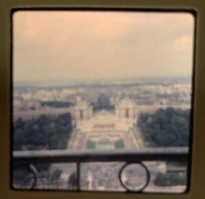 1965 Kodachrome Photo Slide Eiffel Tower Paris France Terrace View Champ de Mars