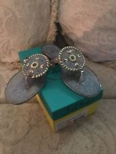 JACK ROGERS Women's GEORGICA  SPARKLE Jelly Sandals GRAY With Gold Studs Size 9