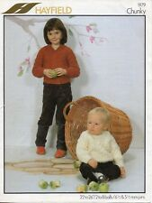 """~ Vintage 1970's Hayfield Toddler Knitting Pattern For Cable Jumpers ~ 22"""" ~ 26"""""""
