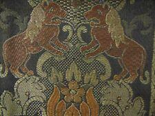 "New listing 1930's Black Tapestry Runner w/Lions- 8""x17""- Vg- Exotic"