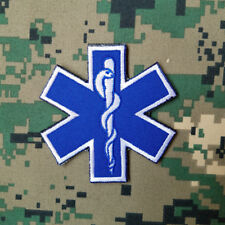 PARAMEDIC EMT EMS STAR OF LIFE MILITRAY TACITCAL HOOK PATCH EMBROIDERED BLUE