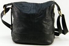 Oskin Slouch Bucket Bag Blk Ostrich & Leather Large Xbody Shoulder Purse Handbag