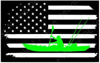Fishing, Kayak Fishing, American Flag, America, Window Sticker, Car Decal, Kayak