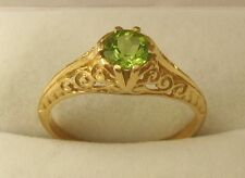GENUINE  9K 9ct SOLID GOLD VINTAGE STYLE NATURAL PERIDOT RING