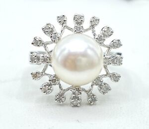 .25 ct NATURAL DIAMOND 10 mm  PEARL halo ring SOLID 14k white gold