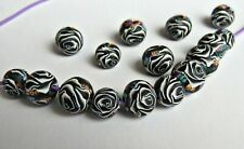 10 pieces, Black and white round beads,Artisan clay, 10mm, DIY Crafts