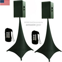 2X Black Triple Sided DJ Scrims Tripod Speaker Stand Stretch Covers +2 FREE Bags