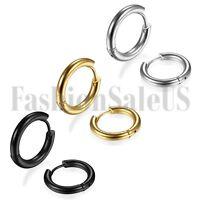 New 6pcs Men Women Unisex Stainless Steel Charm Hoop Huggie Earrings Studs 24mm