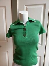 NEW ANNTAYLOR KNITTED GREEN/WHITE SHIRT PETITE SIZE XSP