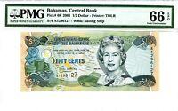 BAHAMAS 1/2 DOLLAR 2001 BAHAMAS CENTRAL BANK PICK 68 LUCKY MONEY VALUE $66