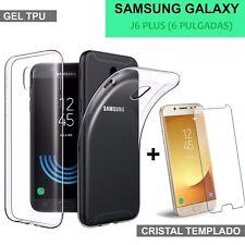 Samsung Galaxy J6 PLUS + Funda transparente + protector cristal vidrio templado