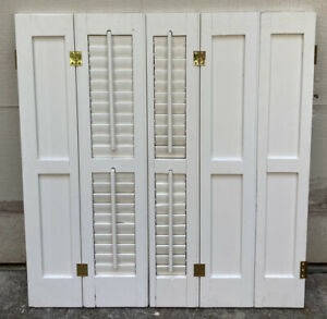 """33"""" Tall Salvaged Antique Wood Interior Louver Plantation Window Shutters VTG"""