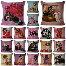 Cotton Linen Pillow 18'' Home Dog/Cat Case Sofa Waist Throw Cushion Cover Decor