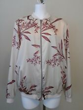 NWT Maternity A GLOW Cream Floral Zip Front Satin Bomber Jacket Size XL $80