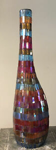 "Mid Century Mod Colors Ombre Mosaic Bud Vase Cased Art Glass Vase 17.5"""