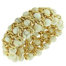 White Marble Yellow Gold Tone Chain Beaded Stretch Cord Womens Bangle Bracelet